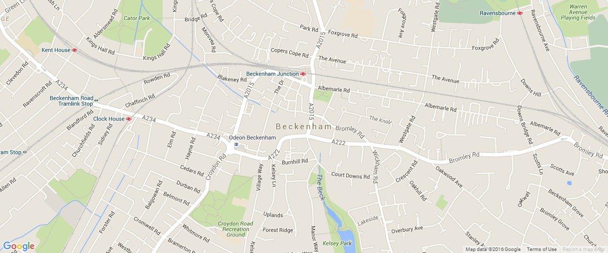 Beckenham-map
